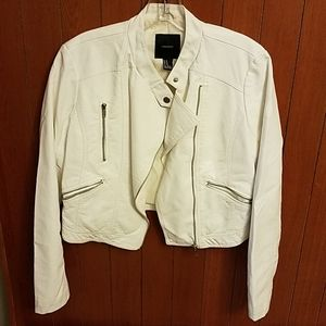 Faux leather white motorcycle jacket.